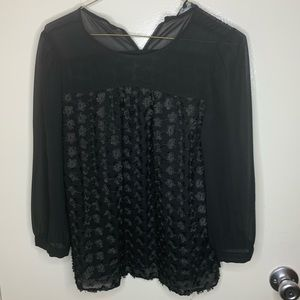 Madewell black blouse with flowers